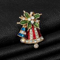 Fashion Christmas Bell Crystal Rhinestone Enamel Brooch Pin Women Jewelry LD
