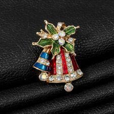 Crystal Jingle Bell Brooches Jian Christmas Decoration Bells Brooch Enamel
