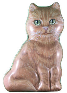 """Tabby Cat Tin - By The Tin Box Company - 6"""" Butterscotch With Green Eyes"""