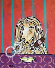 Cigar bar art afghan hound dog poster modern pattern gift 4x6 Glossy Print