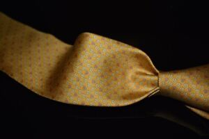 NWT Salvatore Ferragamo Made in Italy 100% Silk Tie Gold Pink Gancini Omega #10