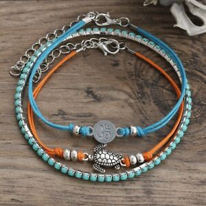 3PCs/Set Boho Sea Turtle Turquoise Beads Anklet Beach Foot Sandal Ankle Bracelet