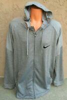 Nike Dry Men's Full Zip Running Hoodie Light Jacket Gray Size XXL 2XL BV2676