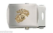 USMC Belt & Buckle Web Marine Corps Chrome Military Style Semper Fi with P38