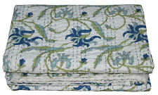 Indian Handmade Quilt Vintage Kantha Bedspread Throw Cotton Blanket Gudari Twin