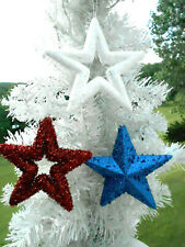 Red White Blue Star Bling Glitter Ornaments Tree Patriotic Fourth of July 4Th