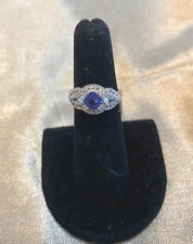 Tanzanite and Sterling Silver Ring with Diamond Accents  *NEW*