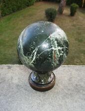 Ancienne belle boule d'escalier marbre vert foncé veiné blanc et bronze XIXe.