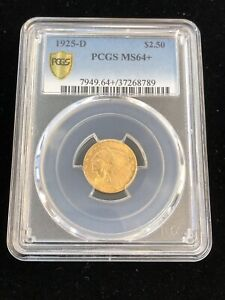 1925-D $2.50 Indian Head Gold COIN PCGS MS 64+ GOLD SHIELD