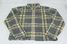 Women's Beige Mountain Lake Long Sleeve M Medium Plaid Full Zip Fleece Jacket