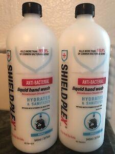 (2) Shield Plex Anti-Bacterial Liquid Wash Soap 32oz Refill Aloe Vera Vitamin E