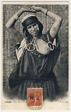 Tunesia Busty Woman W tatuajes/mujer muestra pecho * vintage 1900s ethnic nude PC