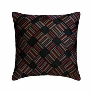 """Decorative 14""""x14"""" Red Art Silk Throw Pillow Cover, Striped - More Than Stripes"""