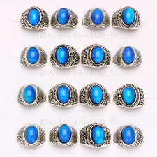Wholesale Lots 50pcs Color Changing Silver Plated MAN Woman Mood Rings FREE