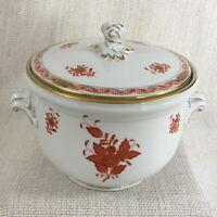 Herend Porcelaine à Couvercle Glace Seau Théière Apponyi Orange Chinois Bouquet