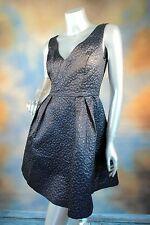 RETAIL $228 FRENCH CONNECTION Katari deep V blue fit n flare jacquard dress 10