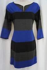 Studio M Dress Sz XS Charcoal Gray Blue Black Color Block Business Casual Dress