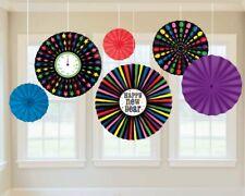 X 6 Amscan Neuf Ans Papier Ventilateur Décoration,Multicolore - Décoration pour