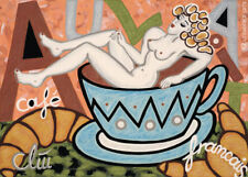 JACQUELINE DITT - Café Au Lait A4 DRUCK n.Gemälde Bild Akt Kaffee Bilder Giclee
