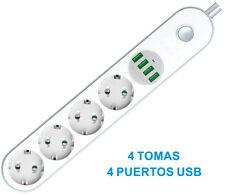 REGLETA DE 4 TOMAS + 4 USB DISTRIBUIDOR DE CORRIENTE ELECTRICIDAD CARGA TABLETA
