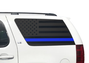 Thin Blue Line Flag Decals for Rear window 2011-2014 Chevy Tahoe GMC Yukon CT11B