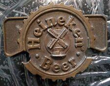 Vintage HEINEKEN Beer Windmill Cap Logo Brass Belt Buckle Rare EUC