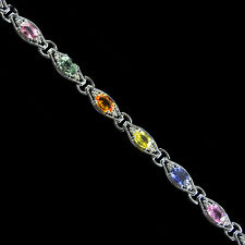 Elegant Multi Color Sapphire, White Diamond Studded  925 Silver Bracelet  7.5 IN
