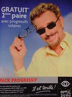 PUBLICITÉ DE PRESSE 2002 OPTIC 2000 PACK PROGRESSIF JOHNNY HALLYDAY