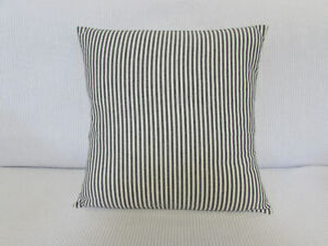 "Cushion Cover, Grey, Cream, Stripes, Cotton, Ticking, 15"" x 15"", Ivory."