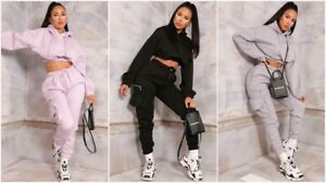 Womens Casual Tracksuit Utility Crop Hoodie Joggers Sweat Pants Lounge Wear Set