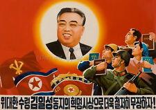North KOREA Patriotic Propaganda Poster Print Leader Kim Il-sung, Flags A3+ #N6