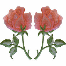 EMBROIDERED APPLIQUE IRON ON RED or YELLOW ROSE.........A039-A040