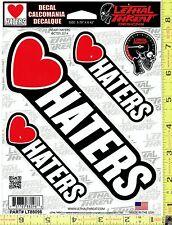 HEART HATERS I Love Vinyl Decal Side or Rear Window Sticker Auto or Truck 88096