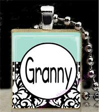 Granny Damask Design Scrabble Tile Pendant Recycled Handcrafted Jewelry Gifts