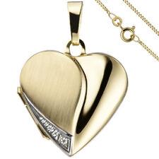 Medaillon Herz Anhänger 2 Fotos 333 Gelbgold 1 Zirkonia + Kette 45 cm Medalion