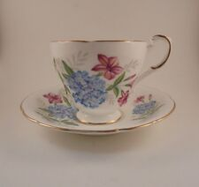 Roslyn Tea Cup & Saucer Fine Bone China Pink Blue Flowers Floral