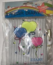 *💜*NEW One Year Locking Diary Plastic Plushy Feel~ Heart Balloon Colorful*💜*
