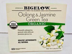 Bigelow OOLONG & JASMINE Green Tea ORGANIC 40 Individual Wrapped Tea Bags- B4