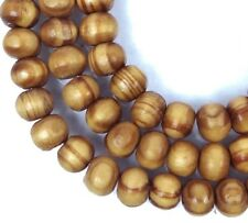 6mm Natural Wood Round Rocaille Beads 16""