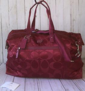 Coach Signature CC Logo Luxury Nylon Travel Weekender Duffle Bag Berry