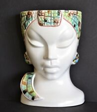 Vintage Nubian Princess WALL POCKET Lady Head Vase Art Deco Egyptian Revival