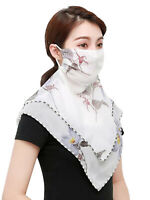 Women's Summer Chiffon Printed Sunscreen Breathable Neck Protection Face Mask
