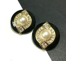 Vtg SWAROVSKI Swan Crystal Black Enamel & Pearl CAB Clip Earrings 18K GP oo90u
