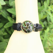 Glass Cabochon Leather Charm Bracelet Koala branch Black Bangle 20 mm