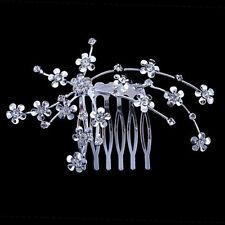 Wedding Bridal Jewellery Rhinestone Crystal Flower Silver Hair Comb Clip 3C