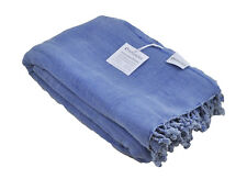 Blue Stonewashed Throw Blanket, Sofa Throw, Cotton Stone Washed Turkish Throw