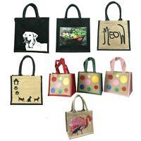 Printed jute bags medium small reusable shopping bag lunch bag gift bag