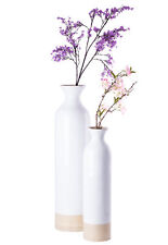 Cylinder Shaped Tall Spun Bamboo Floor Vase Glossy White Lacquer Natural Bamboo