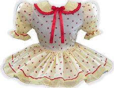 """Sophia"" Custom Fit Yellow Gingham Strawberries Adult LG Baby Sissy Dress LEANNE"