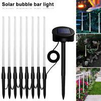 8 Solar Powered Garden Lights Post Patio Outdoor Led Lighting Bubble Lamp Decor